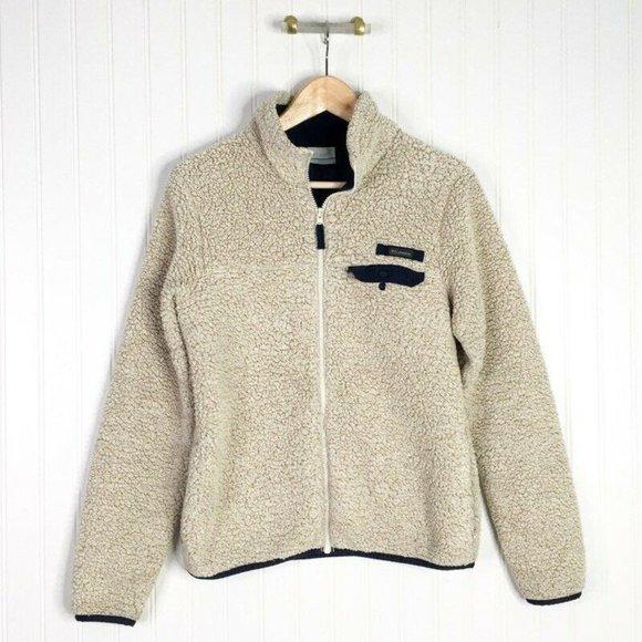 Columbia Womens Fleece Jacket Beige Faux Fur Navy